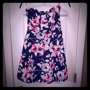 Express Strapless A-Line Floral Print Dress